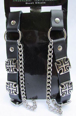Silver Big Iron Cross Boot Chain Bracelet Pair Black Straps Shoe New Men Western Style - alwaystyle4you - 4