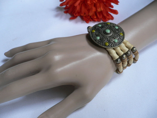 Beige Brown Wood Cream / Brown Bracelet Gold Dots Beads Native Style Fashion New Women Jewelry Accessories - alwaystyle4you - 14