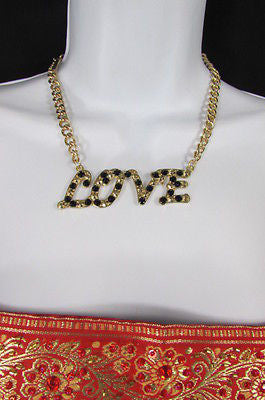 "New Women Fashion Necklace Gold Metal Chains LOVE Pendant Black Rhinestone 16"" - alwaystyle4you - 3"