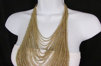 Extra Long Gold Multi Strands Chains Necklace + Earrings Set New Women Fashion - alwaystyle4you - 7