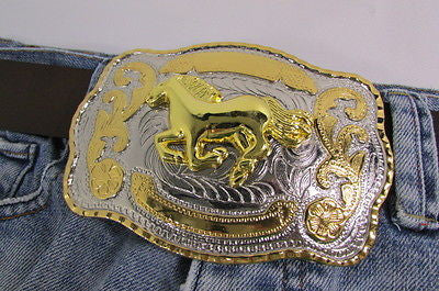 "New Belt Buckle 5.5""/4"" Big Gold Rodeo Horse Large Silver Metal Western Rodeo Fashion Belt Buckle 3D Texas - alwaystyle4you - 6"
