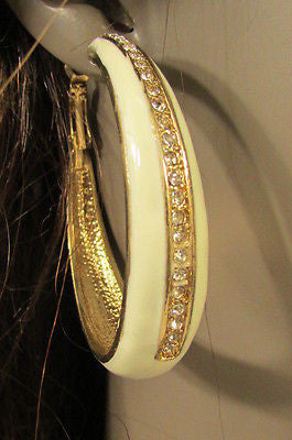 N. Women Gold White Metal Classic Hoop Fashion Earrings Set Multi Rhinestones - alwaystyle4you - 11