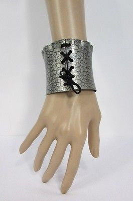 Silver Metal Bracelet Snake Stamp Corset Black Tie New Women Fashion Jewelry Accessories - alwaystyle4you - 1