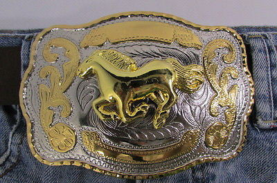 "New Belt Buckle 5.5""/4"" Big Gold Rodeo Horse Large Silver Metal Western Rodeo Fashion Belt Buckle 3D Texas - alwaystyle4you - 2"