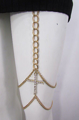 New Women Gold Thigh Leg Metal Chain Links Garter Big Cross Fashion Body Jewelry - alwaystyle4you - 3