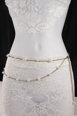 Silver Chains Hip High Waist Belt White Imitation Pearl New Women Fashion Accessories S M L XL - alwaystyle4you - 12