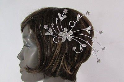 New Women Silver Metal Big Flowers Leaf Rhinestone Large Head Fashion Jewelry - alwaystyle4you - 5