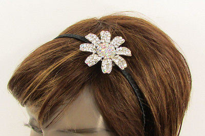 New Women Classic Fashion Headband Large Flower Silver Rhinestones Hair Band - alwaystyle4you - 12