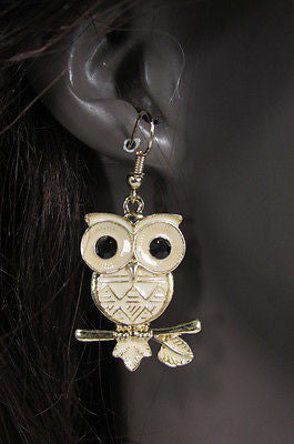 New Women Gold Metal Owl Jewelry Earrings Set Black Eyes Birds Hook Light Weight - alwaystyle4you - 1