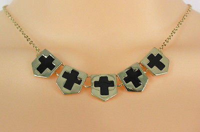 Gold Metal Chain Five Mini Black Crosses Long Pendant Necklace New Women Fashion Accessories