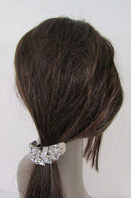 Sexy Women Silver Metal Ponytail Holder Silver Rhinestones Fashion Hair Jewelry - alwaystyle4you - 6