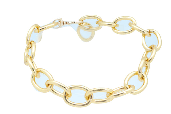 Brand New Women Gold Metal Chunky Chain Thick Links Boot Bracelet Shoe Band Anklet Strap