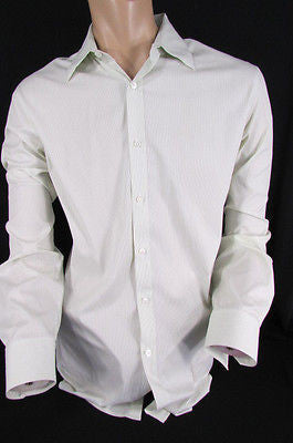 Theory Men White Button Down Dress Shirt Green Pin Stripes Classic Large 34-35 - alwaystyle4you - 1