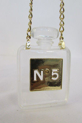 New Women Gold Metal Chains Fashion Necklace Clear Plastic Perfume Bottle No 5 - alwaystyle4you - 11