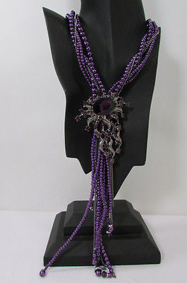 Purple Beads Long Twisted Necklace Big Flare Broach +Earrings Set New Women Fashion - alwaystyle4you - 5