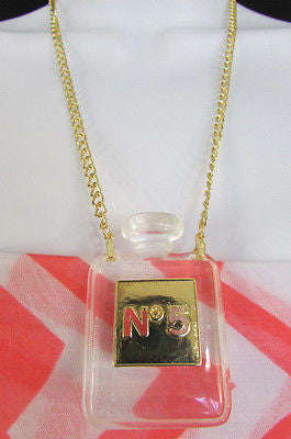 New Women Gold Metal Chains Fashion Necklace Clear Plastic Perfume Bottle No 5 - alwaystyle4you - 7