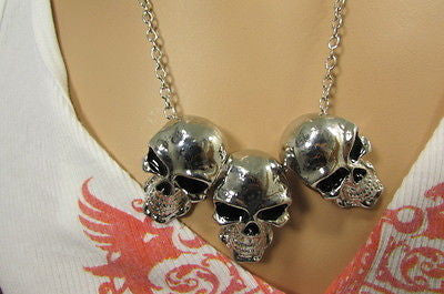 Long Metal Chains Fashion Necklace 3 Big Silver Black Skulls Pendant New Men Style Accessories - alwaystyle4you - 12