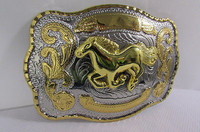 "New Belt Buckle 5.5""/4"" Big Gold Rodeo Horse Large Silver Metal Western Rodeo Fashion Belt Buckle 3D Texas - alwaystyle4you - 5"