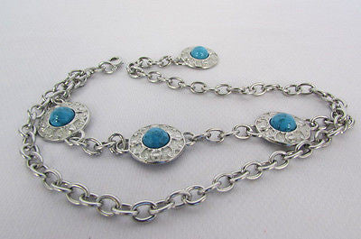 Turqoise Blue Beads Silver Metal Boot Chain Bracelet One Strap New Women Fashion Western - alwaystyle4you - 2