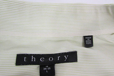 Theory Men White Button Down Dress Shirt Green Pin Stripes Classic Large 34-35 - alwaystyle4you - 10