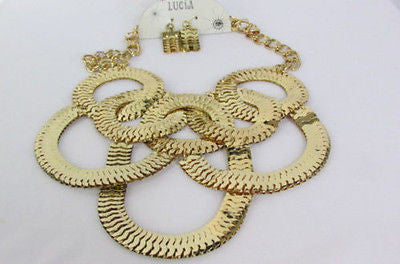 Gold Metal Thin Links Multi Strands Necklace Earrings Set New Women Fashion Accessories