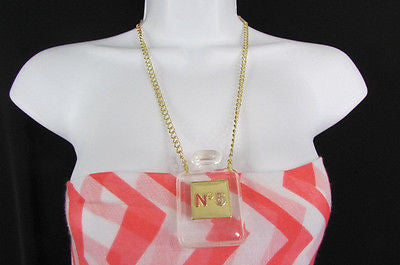 New Women Gold Metal Chains Fashion Necklace Clear Plastic Perfume Bottle No 5 - alwaystyle4you - 3