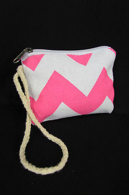 New Women Fashion Mini Purse Fabric Make Up Coin Wallet Chevron Print Rope Starp - alwaystyle4you - 3