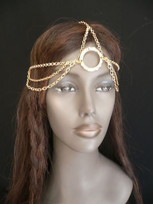 New Miami Beach Women Gold Big Ring Metal Head Chain Jewelry Hair Accessories - alwaystyle4you - 2