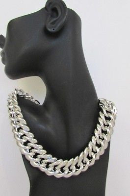 New Women Short Lightweight Chunky Silver Thick Big Chains Fashion Necklace - alwaystyle4you - 10