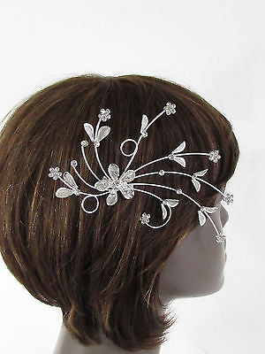New Women Silver Metal Big Flowers Leaf Rhinestone Large Head Fashion Jewelry - alwaystyle4you - 8