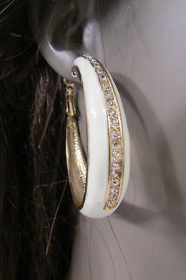 N. Women Gold White Metal Classic Hoop Fashion Earrings Set Multi Rhinestones - alwaystyle4you - 8