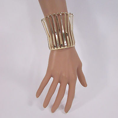 "Gold Wide Metal Cuff Bracelet Unique Cut Shape  3"" Long New Women Fashion Jewelry Accessories - alwaystyle4you - 6"