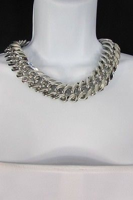 New Women Short Lightweight Chunky Silver Thick Big Chains Fashion Necklace - alwaystyle4you - 4