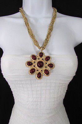 Long Gold Chains Necklace Big D. Red Flower Pendant + Earrings Set New Women Fashion - alwaystyle4you - 2