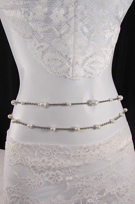 Silver Chains Hip High Waist Belt White Imitation Pearl New Women Fashion Accessories S M L XL - alwaystyle4you - 8