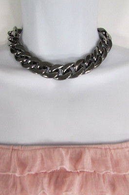 Women Fashion Pewter Gunmetal Light weight Plastic Chunky Chain Thick Necklace - alwaystyle4you - 6