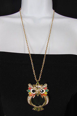 New Women Long Fashion Necklace Thin Gold Chains Owl Magnifying Glass Pendant - alwaystyle4you - 1
