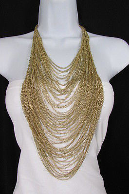 Extra Long Gold Multi Strands Chains Necklace + Earrings Set New Women Fashion - alwaystyle4you - 3