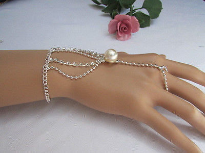 New Women Silver Thin Fashion Hand Chain Bracelet Slave To Ring Wide Net Wrist - alwaystyle4you - 4