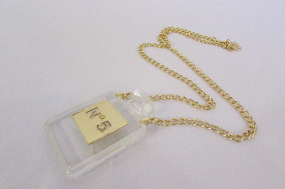 New Women Gold Metal Chains Fashion Necklace Clear Plastic Perfume Bottle No 5 - alwaystyle4you - 4