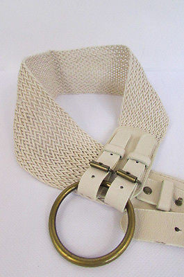 Cream Off White  / Black Faux Leather Braided Hip / Waist Belt Round Buckle New Women Moroccan Fashion Accessories Medium - alwaystyle4you - 9