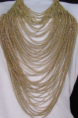 Extra Long Gold Multi Strands Chains Necklace + Earrings Set New Women Fashion - alwaystyle4you - 11