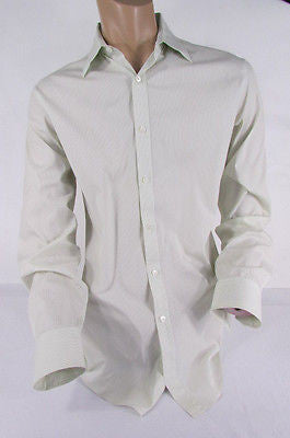 Theory Men White Button Down Dress Shirt Green Pin Stripes Classic Large 34-35 - alwaystyle4you - 3
