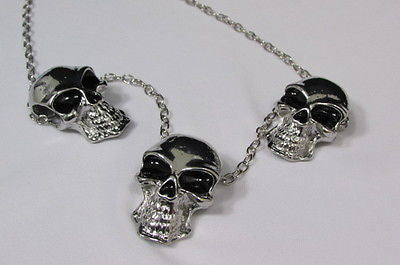 Long Metal Chains Fashion Necklace 3 Big Silver Black Skulls Pendant New Men Style Accessories - alwaystyle4you - 4