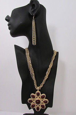 Long Gold Chains Necklace Big D. Red Flower Pendant + Earrings Set New Women Fashion - alwaystyle4you - 10