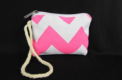 New Women Fashion Mini Purse Fabric Make Up Coin Wallet Chevron Print Rope Starp - alwaystyle4you - 30