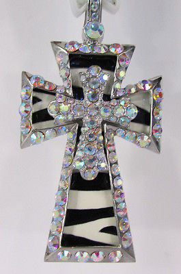 New Women Silver Metal Plate Scarf Necklace Pendant Charm Big Cross Rhinestones - alwaystyle4you - 9