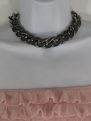 Women Fashion Pewter Gunmetal Light weight Plastic Chunky Chain Thick Necklace - alwaystyle4you - 4