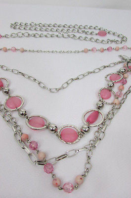 Pink Beads Silver Metal Multi Chains 5 Strands Hip Waist Belt New Women Fashion Accessories XS S M L - alwaystyle4you - 10