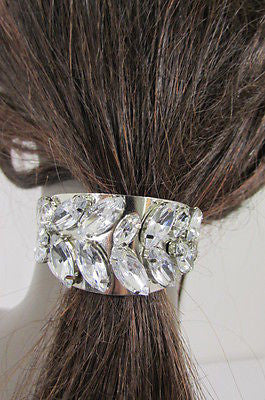 Sexy Women Silver Metal Ponytail Holder Silver Rhinestones Fashion Hair Jewelry - alwaystyle4you - 7